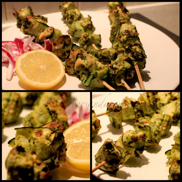 Zucchini wrapped Mint & Coriander Chicken Kebabs