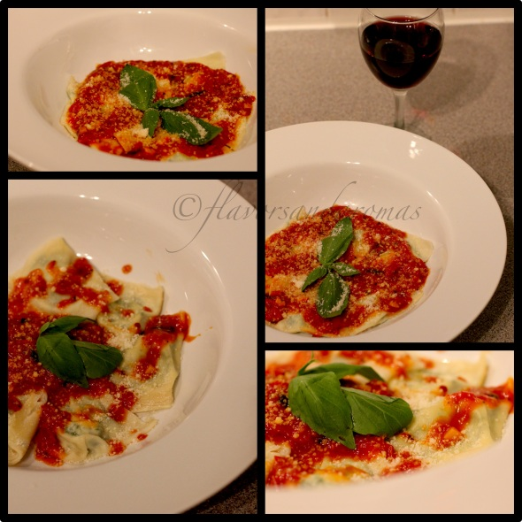 Ravioli with Ricotta and Spinach Filling, Served with a Tuscan Tomato Sauce