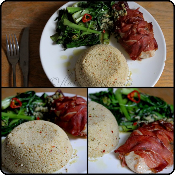 Homemade Spinach & Pepper Jack Cheese stuffed Chicken breasts wrapped in Parma Ham with sides of stir fried veggies and couscous.