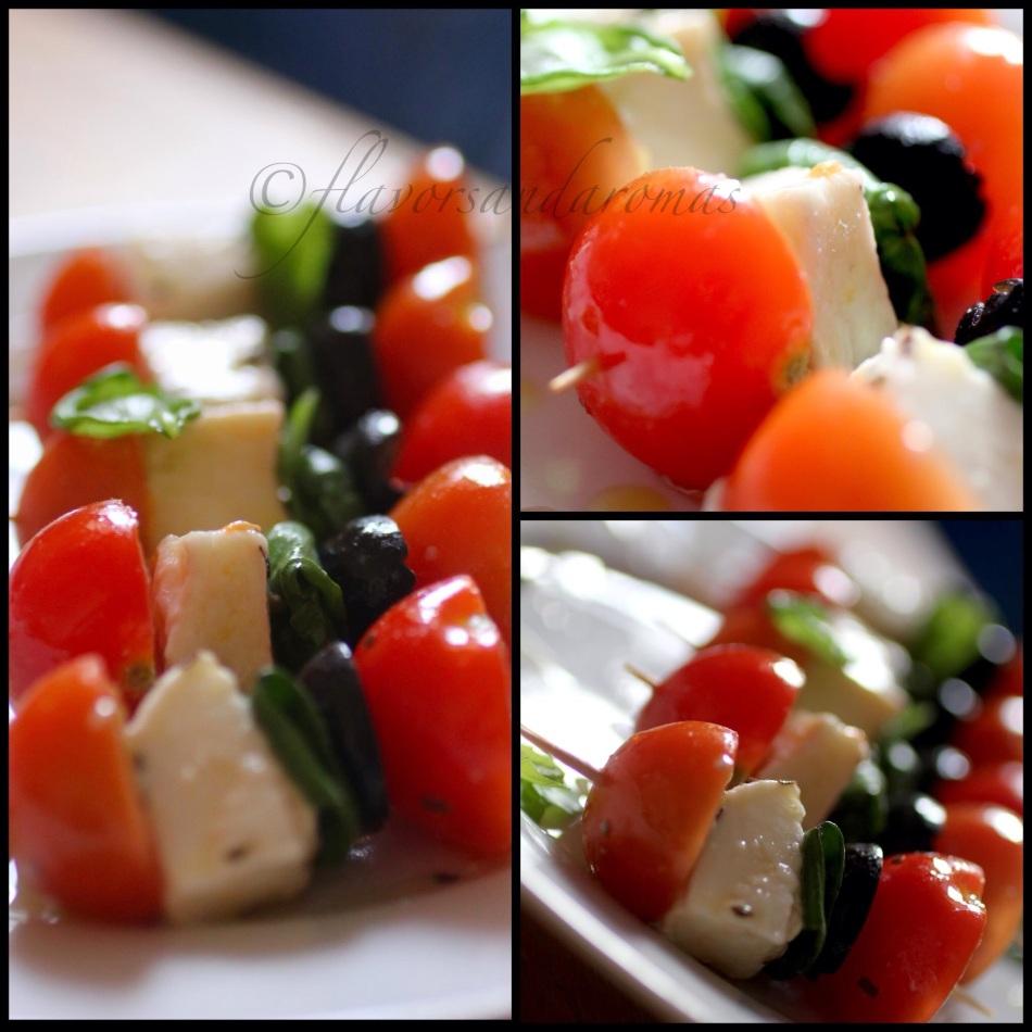 Canap salad tomato mozzarella basil salad flavors for Mozzarella canape